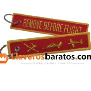 Llavero jacquard remove before flight. Con aviones.