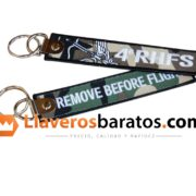 Llavero jacquard remove before flight. En este caso de grupo de paintball.