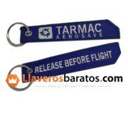 Llaveros de tela con logotipo aeroespacial.