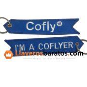 Llaveros de tela con el texto Cofly.