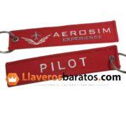 Llaveros de tela personalizados con logotipo aeroespacial.